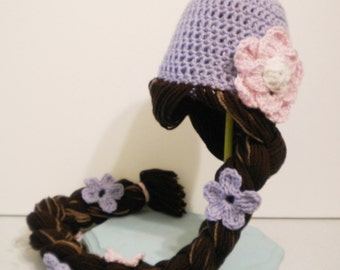 Crochet Rapunzel Hat with Custom Colors - Cartoon Costume Hat - Tangled - Silly and Chunky Crochet Hat