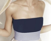 Navy/White Striped Elastic Wrap Belt