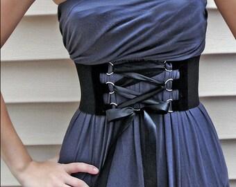 NYE Corset Lace Up Belt Faux Suede D-ring trim / Wide Elastic