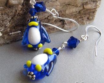Lampwork Glass Penguin Earrings by Cornerstoregoddess