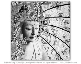 Bliss of Being - 30x30 Buddha Art Canvas - Black and White Zen Art by Christopher Beikmann