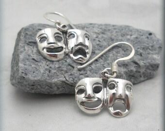Drama Mask Earrings, Theater Mask Earrings, Theater Earrings, Comedy, Tragedy, Theatre Earrings, Drama Jewelry, Sterling Silver (SE631)