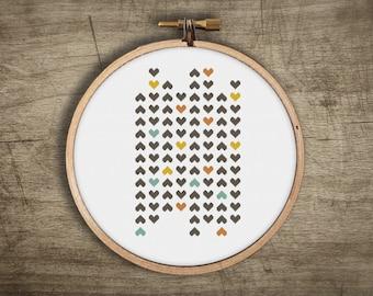 heart modern cross stitch pattern ++ retro love mosaic ++ pdf INsTAnT DOwNLoAD ++ diy hipster ++ handmade design