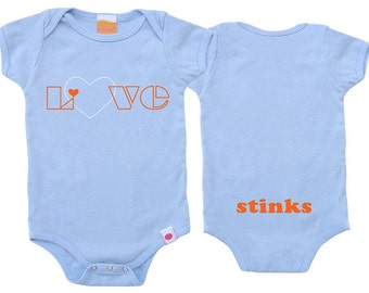 Funny Baby Clothes, Funny Baby Gifts, Newborn Baby Gift, Funny Baby Gifts, Baby Boy Clothes,Love Stinks Baby Boy Organic Onesie