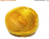 Valentine Sale Maize, Sparkly Firestar, Needle Felting, Spinning Fiber, roving, .5 oz,golden yellow, sun yellow similar to Icicle Top, ships