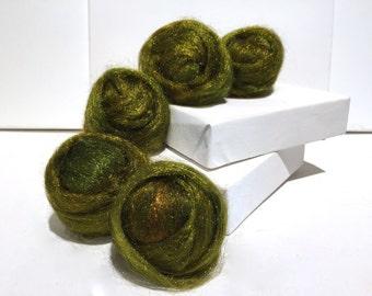 Golden Moss Firestar Needle Felting Spinning Fiber nylon roving .5 oz golden moss green medium green similar to Icicle Top, ship free w wool