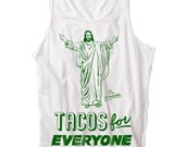 Tank Top - Jesus Tacos by The Yummies /  Ray Young Chu Tank Top Green on White