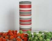 Red and Grey Striped Vase - SHOP SALE - Tall Striped Cylinder Vase in Shades of Grey Red and White