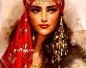 Gypsy Girl*Woman*Lady*Red headpiece*Glorious*Bohemian**BOHO*Quilt art fabric block*Quilts,Pillows,Sachets,Frame