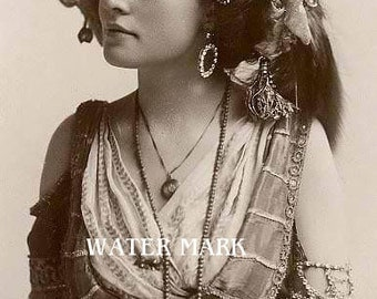 Gypsy Girl*ornate head piece**Glorious*Bohemian**BOHO*Quilt art fabric block*Quilts,Pillows,Sachets,Frame