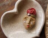 Reserved for Isabelle / Rosy Girl / Handmade Ceramic Bead