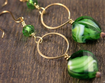 Green and white swirls glass beads, swarovski crystals and solid gold brass handmade ring earrings