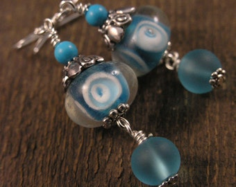 Lampwork glass beads, turquoise stone, beach glass, handmade silver earrings