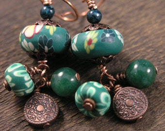Emerald green polymer clay flower beads, aventurine stone, fossilized dinosaur bone, copper handmade earrings