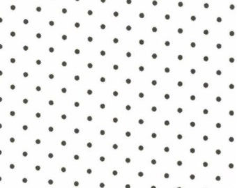 Essential Dots - Black Dots on White (light cream) -  cotton quilting fabric from Moda 12119-53 - 1 yard