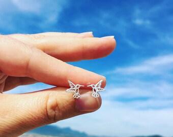 Humming Bird Stud Earrings Hummingbird Jewelry Sterling Silver Post Earings
