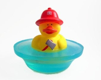 Fire Fighter Duck on a Pond Soap, Rubber Duck Fire Fighter Soap Gift, Rubber Ducky Birthday Party Favor
