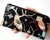 Owls Zipper Pouch Smart Phone Pouch ECO Friendly Padded NEW SIZE Shades of Owls in Black