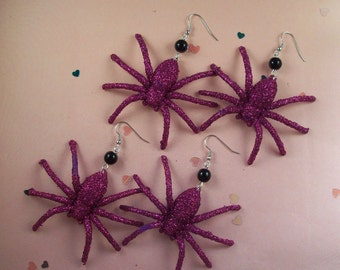 Giant Glittery Spider Earrings