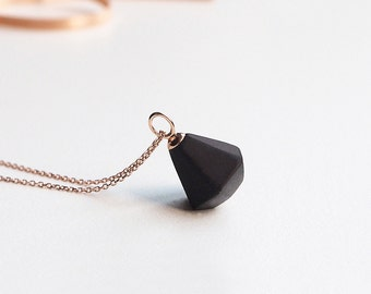 Black diamond necklace, Ceramic necklace 18K rose gold necklace Diamond necklace Black and gold jewelry  Anniversary gift-boohua