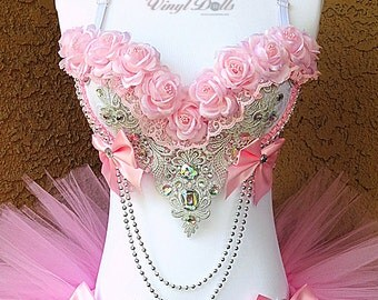 Pre Made - 36B Pink Silver Princess Rave Bra, Rave Top, Light Pink Roses EDM Floral Bra
