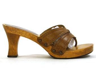 Wooden Platform Sandals / Vintage 1980s Brown Leather Heels / Women's Size 6.5 or 7