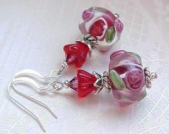 Whimsical Earrings Red Earrings Rose Lampwork Earrings Lampwork Glass Lampwork Beads Earrings Shabby Chic Earrings Gifts for Women Her
