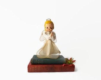 Vintage Nylon Christmas Angel, Cottage Chic Stockinette Doll Holiday Decor