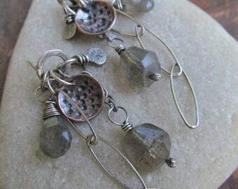Silver stud Earrings Boho LABRADORITE Dangling Earrings Charm Post Stud earrings wire wrapped Gemstone Cluster Earrings Mixed Metal earrings