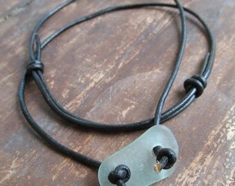 Beach Bum Surfer Necklace Short Necklace Sea Glass Leather Choker White Beach Glass Choker Unisex leather Necklace Men Leather Jewelry