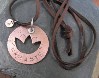 Copper and Silver NAMASTE Necklace Riveted Medallion Pendant Long Leather Yoga Lotus Necklace