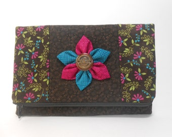 Brown Floral Foldover Clutch with Pockets and Kanzashi Flower, Brown Fold Over Clutch