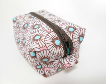 Mini Dopp Kit in Retro Floral Pink and Brown