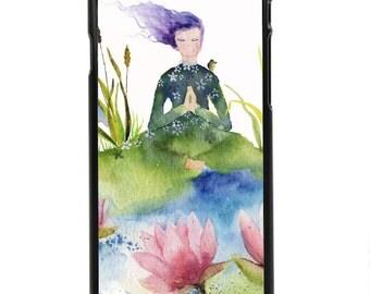 """Phone Case """"Lotus"""" - Watercolor Art Print Woman Meditation Water Flower Energy Peaceful Heron Lotus Flower By Olga Cuttell"""