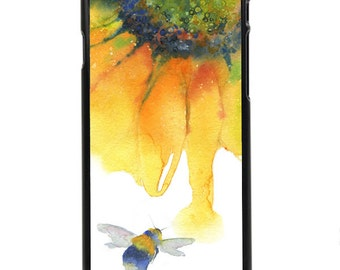 """Phone Case """"Nectar"""" - Bee, Sunflower, Polinating, Wildlife, Bright, Spring, Watercolor Painting By Olga Cuttell"""