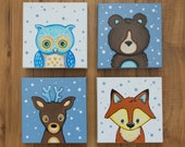 "Set of Four Woodland, Forest Animals Original Nursery Paintings. Owl, Fox, Bear, Deer. 6""x6"" Stretched Canvas"
