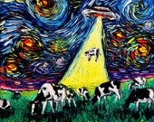 Starry Night UFO Cow Art print van Gogh Was Never Abducted by Aja 8x8, 10x10, 12x12, 20x20, and 24x24 inches Alien Abduction Sci Fi Art