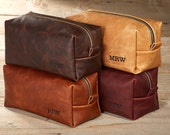 Large Kamali Leather Toiletry Bag with Free Monogram and Optional Interior Message
