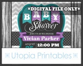 Teal Purple Gray Baby Shower Invitation Chevron Polka Dots Polkadots Theme Digital Printable Customized 5x7 Dark Grey White Turquoise DIY