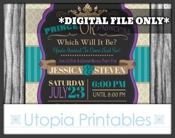Prince or Princess Gender Reveal Party Invitation Teal Purple Tan Beige Brown Crown Baby Shower Theme Digital Printable Customized 5x7 Royal