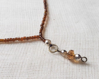Brown Seed Bugle Bead Necklace, Faceted Jewellery, Brass
