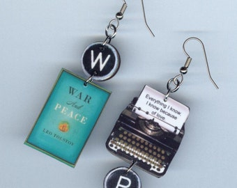 Book Cover earrings jewelry - War and Peace Tolstoy quote - Literary librarian student readers gift - mismatched earring designs by Annette