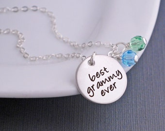 Best Grammy Ever Necklace in Silver, Christmas Gift for Grammy, Personalized jewelry for Grammy