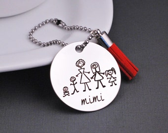 Personalized Gift for Mimi, Purse Charm with Stick Family, Christmas Gift for Mimi