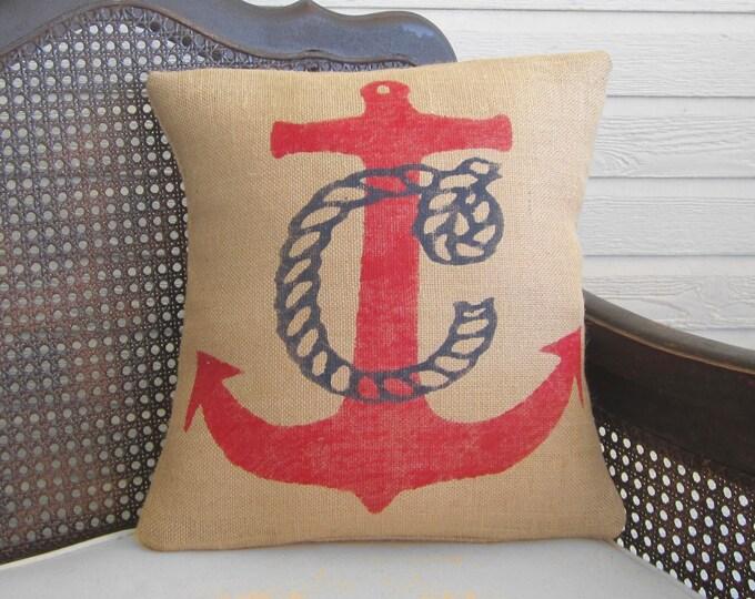 Nautical Anchor Monogram Pillow  - Burlap Pillow - Nautical  Decor -  Monogram Pillow - Nautical Monogram - Personalized - Red, Navy, White