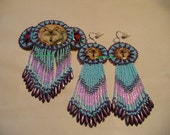 Native American Style Rosette beaded Wolf Barrette and Earring Set in Purple and Light Blue