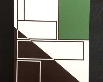 """11x14"""" ORIGINAL abstract painting, ready to hang - art, decor, brown, white, green"""