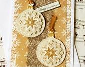 Golden Christmas Ornament- 3D Christmas Card, Blank Christmas Card, Holiday Card, Handmade Christmas Card, Ornament Card