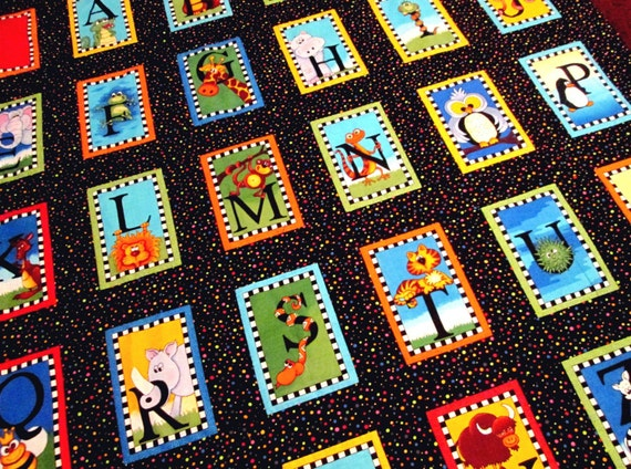 Finished Quilt Top, Alphabet Quilt Kit, Bright Colors, All Cotton Lap or Crib Quilt Size, FREE Shipping U.S.