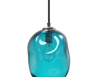 AQUA River Rock Hand Blown Glass Pendant Light Lighting Glass Pendants and Chandeliers